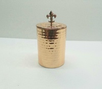 Hammered candle jar flat design copper plated candle vessel with & without lid