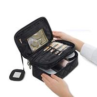 Double Layer Cosmetic Toiletry Brush Bag for Women with Mirror Travel Makeup Bag