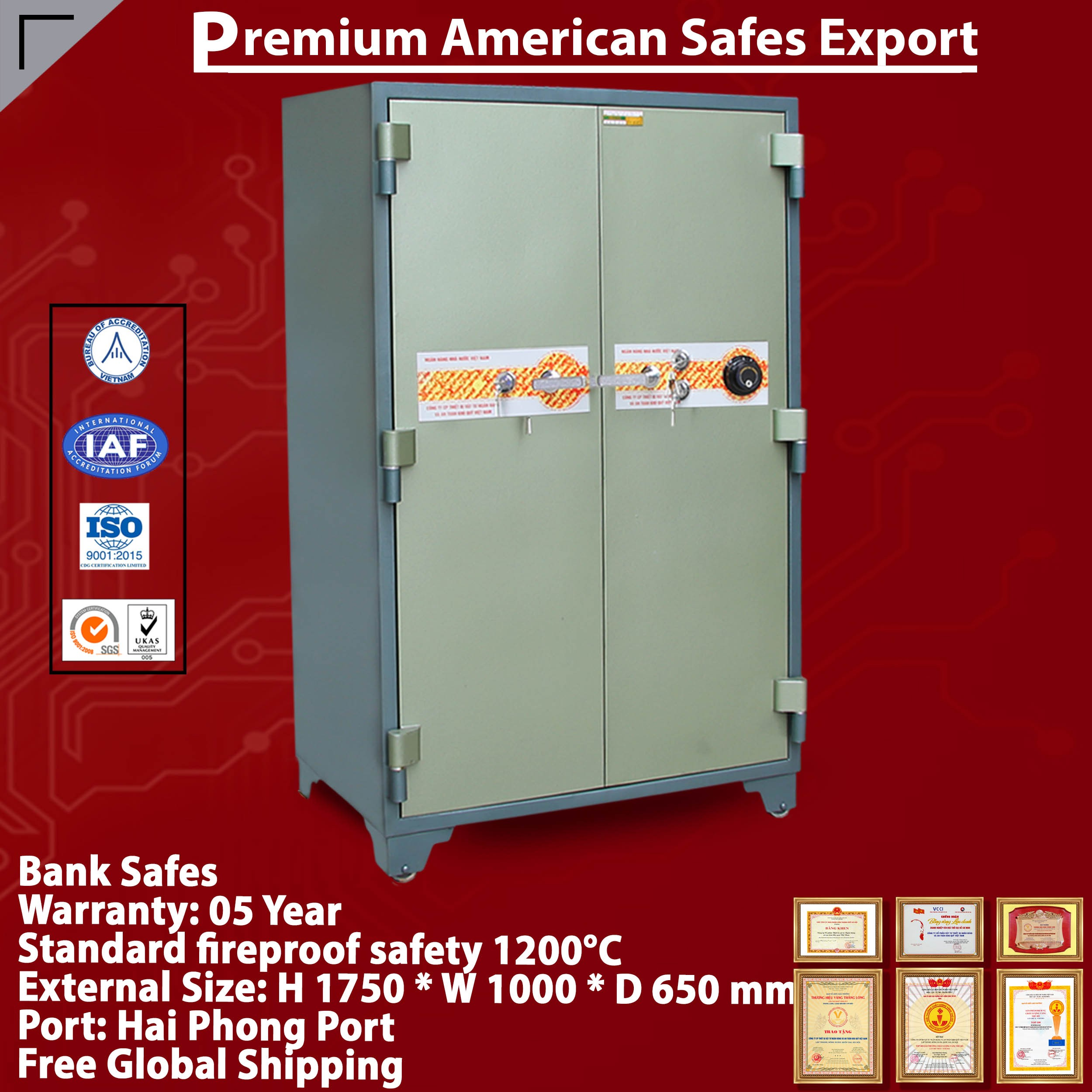 Bank Safe LX1750 DK Two Doors Modern Design Security