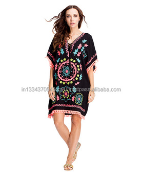 Brand New Hand Crafted Embroidery Boho Style Hippie Chic Tassel Trim Short Dress Wholesale Plus Size Girls Tunic Women Sun Dress