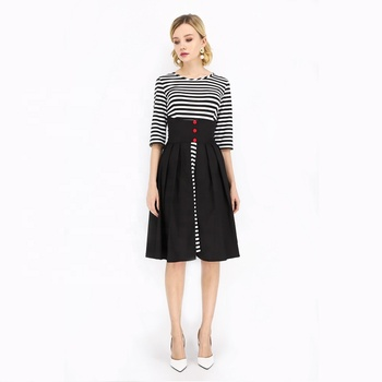 Three-quarter Sleeves O-neck Black Striped Buttoned Below knee Wholesale Clothing For Women Casual Dresses