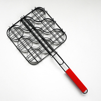 High Quality BBQ Grilling Basket with Wooden Handle Non-stick BBQ Mesh Wire Grill Burger Basket Outdoor BBQ Accessories