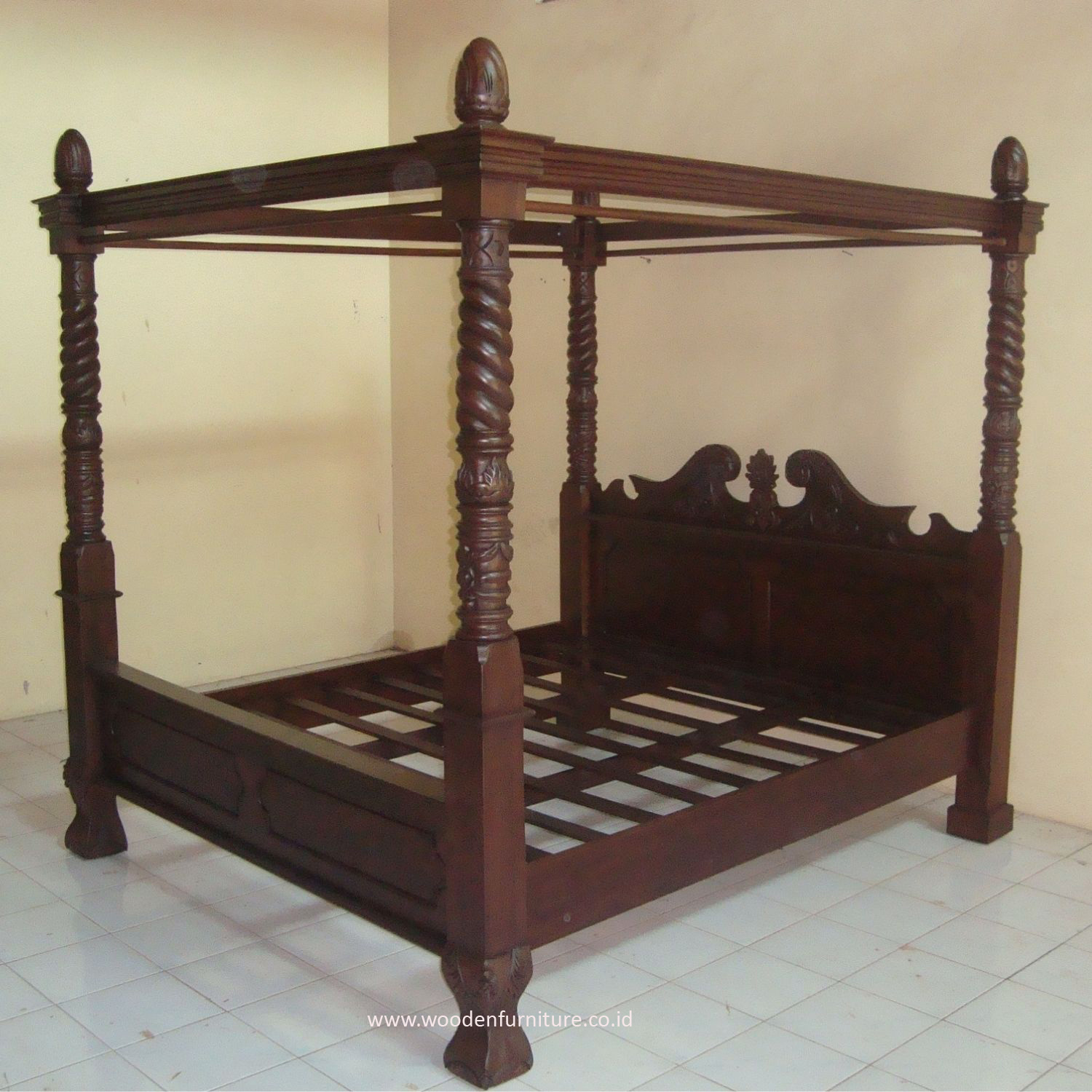 Teak Canopy Bed Wooden Four Posters Bed Antique Reproduction Bed Vintage  Bedroom Furniture Classic European Home Furniture - Buy Four Posters Teak