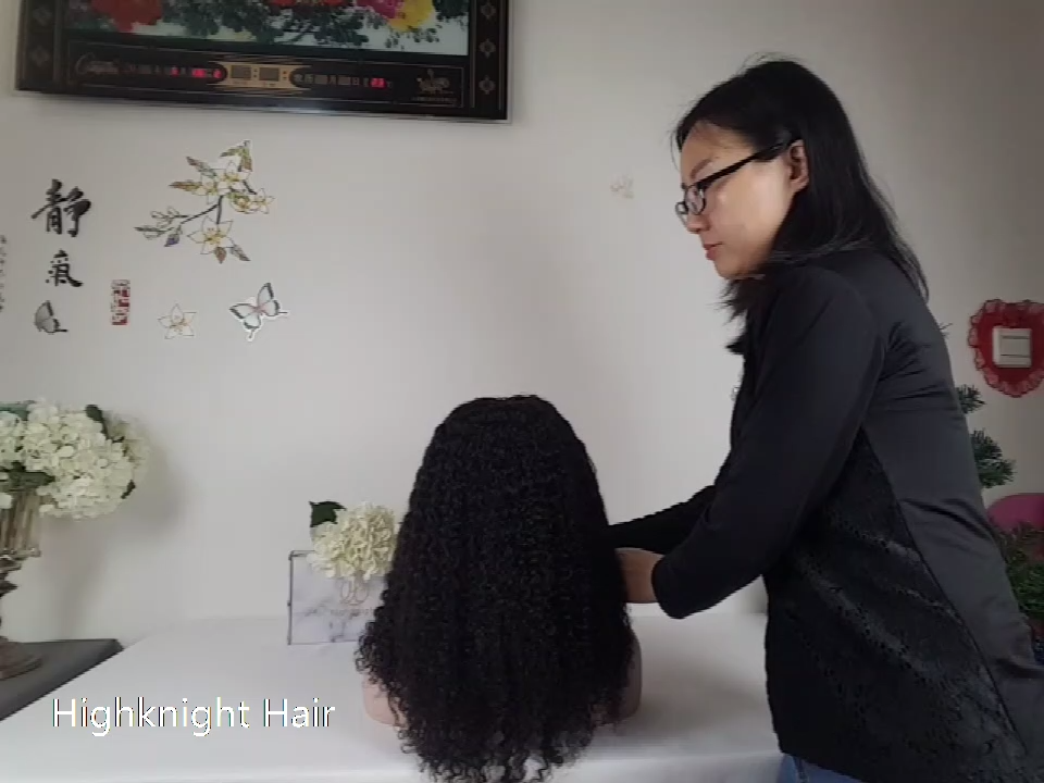Highknight Wholesale Glueless Kinky Curly Brazilian Virgin Human Hair 13*6 Lace Front Wig With Baby Hair Double Drawn Wigs