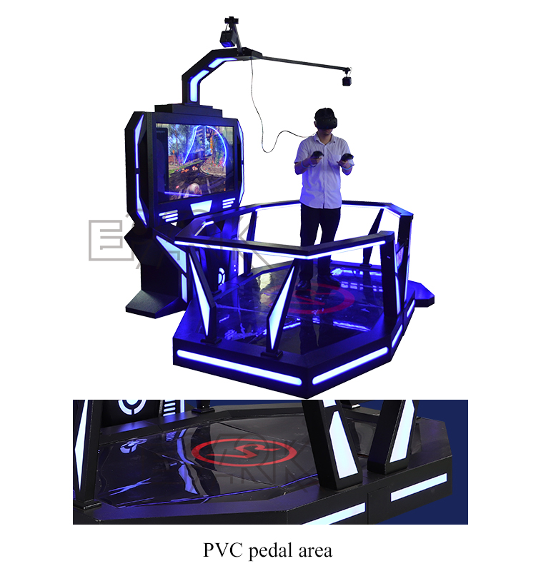 Future technology 9d vr walking platform game virtual reality vr space freely shooting gaming machine with VR glasses