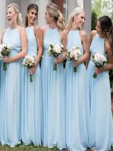 2020 светильник небесно-голубого цвета, доступные шифоновые платья подружки невесты с лямкой на шее, длинные пляжные платья без рукавов для с...(Китай)