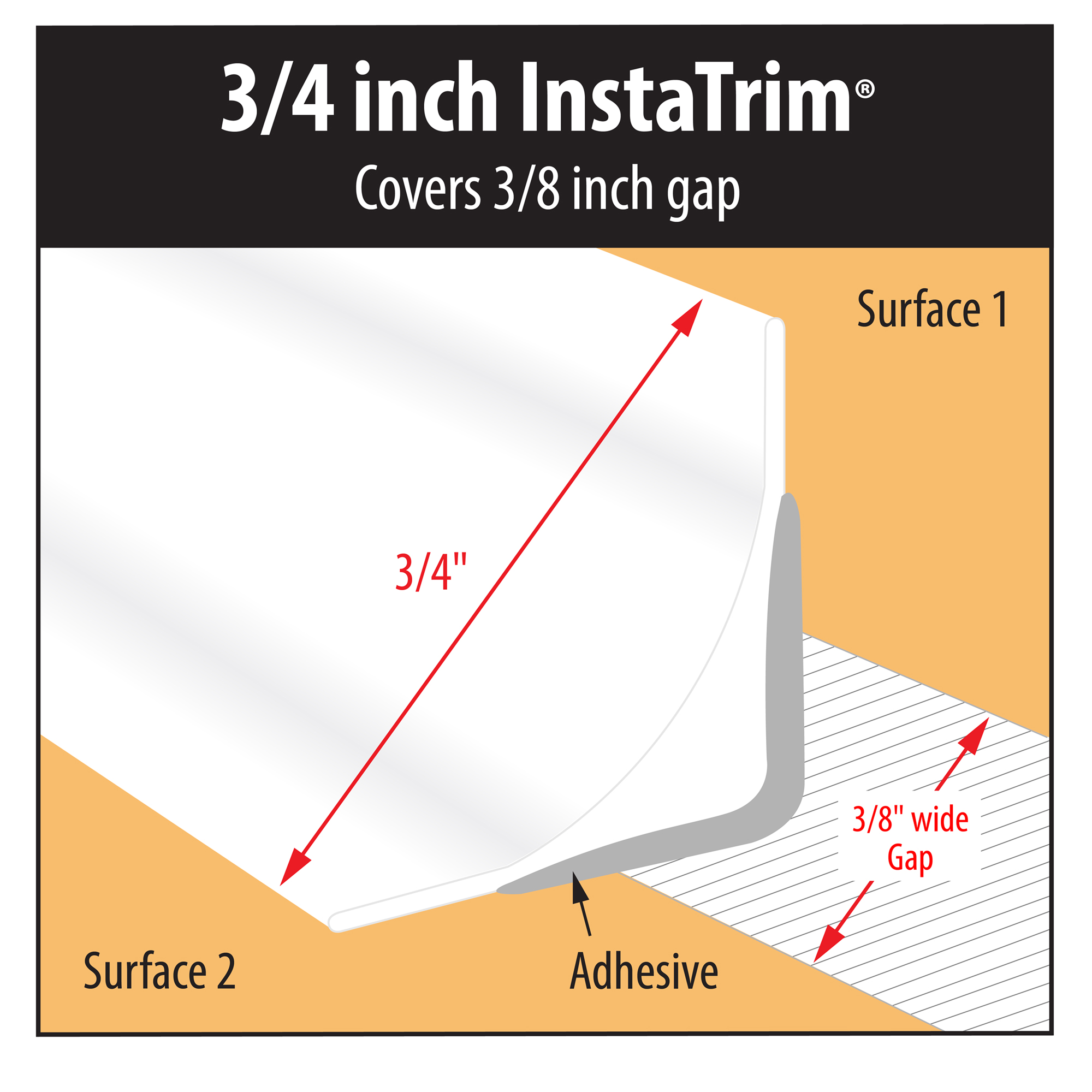 Instatrim, 3/4 In. X 50 Ft, Flexibele Kalefateren En Trim Strips, Grey