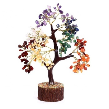 Life Tree Natural Seven Chakra Natural Healing Gemstone Crystal Bonsai Fortune Money Tree for Good Luck For Decoration Gifts