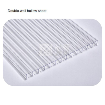One Side UV Protection Clear Twin Wall PC Hollow Sheet
