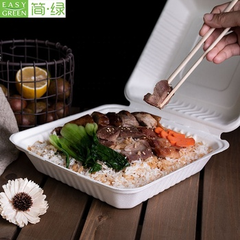 Easy Green Bagasse Pulp Biodegradable Packaging Clamshell Paper Lunch Takeaway Containers Food Box