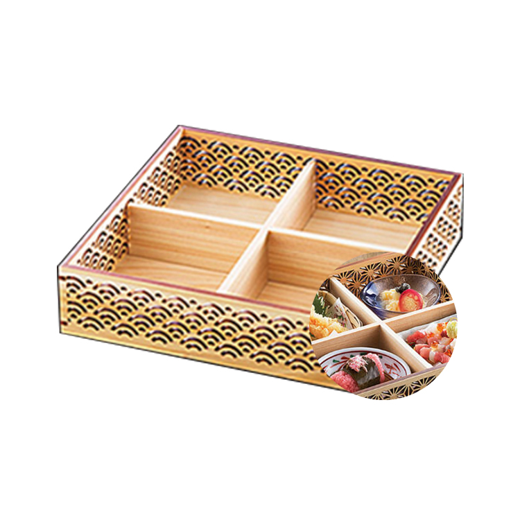japanese delicate wooden tiffin lunch box for high-end Japanese restaurants