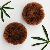Round coconut fiber natural kitchen cleaning pot washing dish wash eco friendly coir husk scrubbers