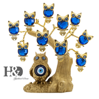 H&D Turkish Blue Evil Eye Owl Figurines Gold Lucky Tree of Life Statue Home Decor Ornaments