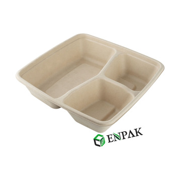 Sugarcane pulp takeaway food packaging box 3 compartment bagasse pulp restaurant take away food container