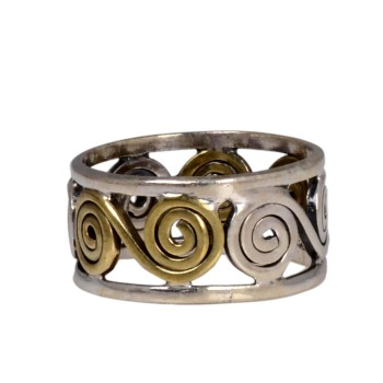 Handcrafted 925 Silver Brass Hammer Ring
