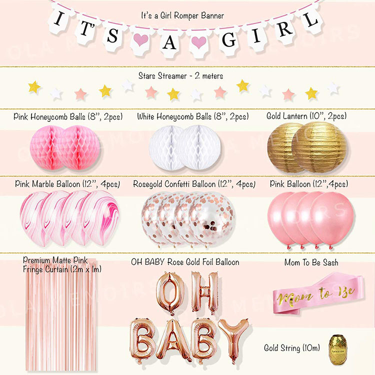 Nicro Gold Pink Girl Birthday Party Set Girl Baby Shower Decoration