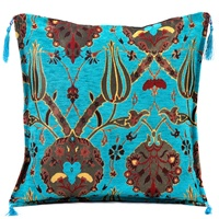 Turkish Souvenir Turquoise Cushion Cover With Tulip Design From Turkey