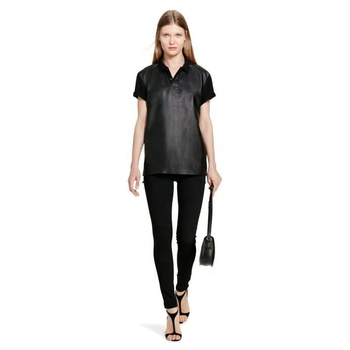 Short Sleeve Women Leather Polo Shirt  in Bulk Order