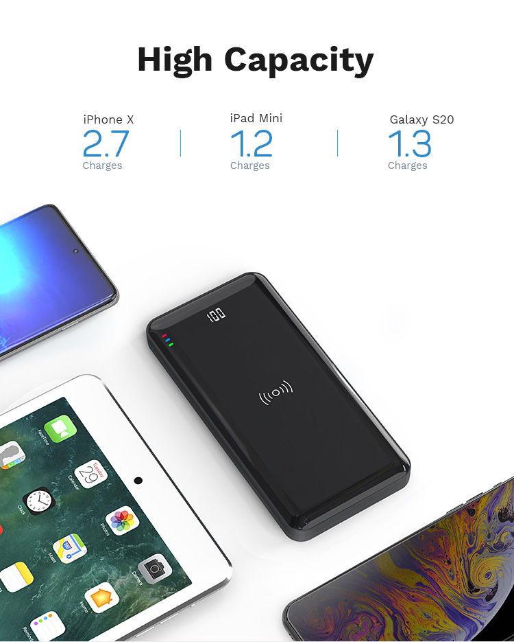 2020 New Fashion Factory Wholesale Cheap Digital Display Fast Wireless Charger Slim PD QC 3.0 18W Mirror Power Bank 10000mAh