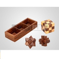 Wood Interlocking Blocks, Diagonal Burr, and Snake Cube in Storage Wooden Puzzle Games