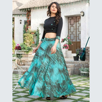 Party Wear Latest Designer Printed Silk Skirt With Tops Collection