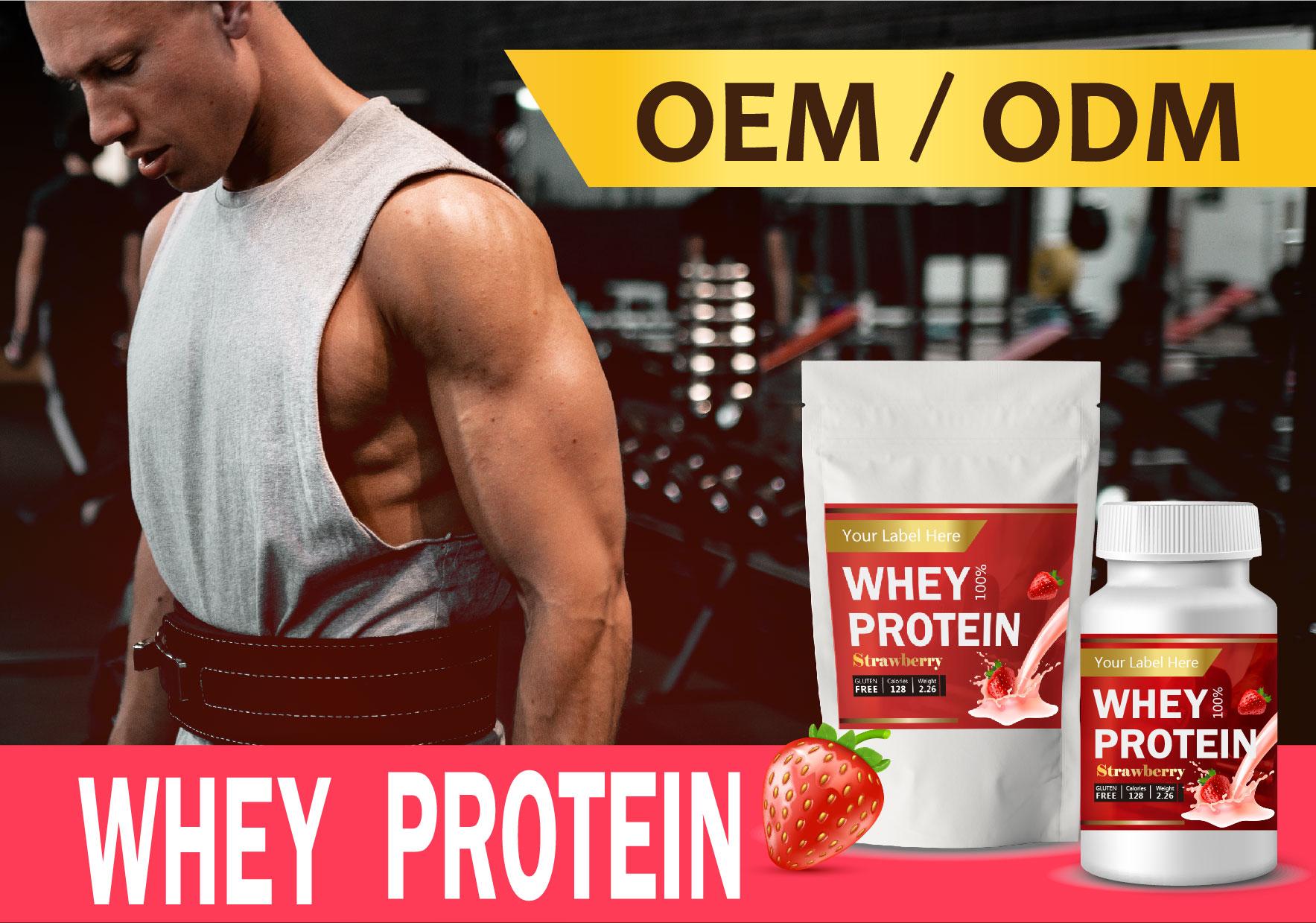 Sports Whey Protein Powder Nutrition Bcaa Strawberry Milkshake Custom Manufacturer Oem - Buy
