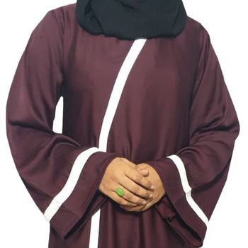 Cross Over Abaya With Contrast Stripe