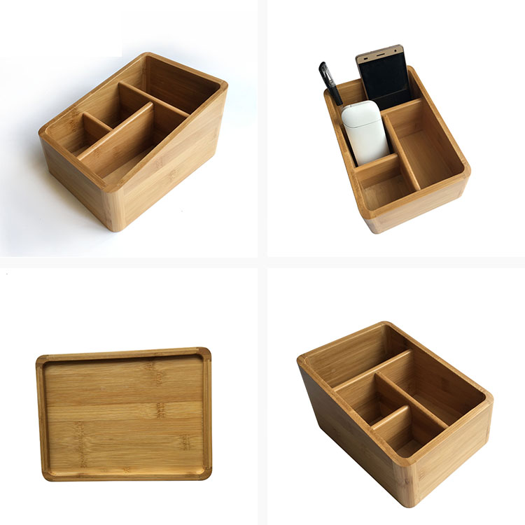 Wholesale Cheap Wooden Organizer Bamboo Multi-purpose Office Desk Organizer Storage Box For White-collar