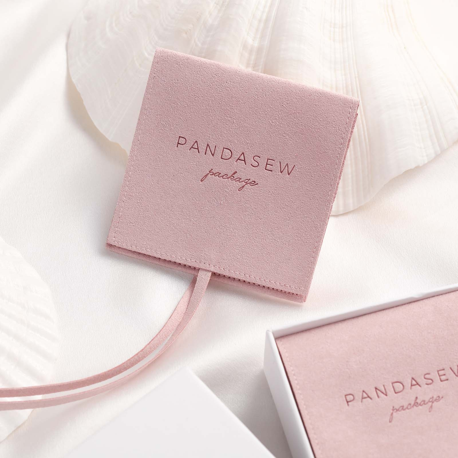 PandaSew 8x8cm Pink Custom Logo Suede Microfiber Jewelry Gift Packaging Pouch, Customized color