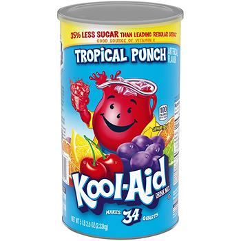 Kool Aid Soft Drink Mix Tropical Punch Sugar Sweetened Caffeine Free Powder Drink