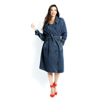 Italy DEFENCE ladies Sashes denim women long Wind coat for whosale