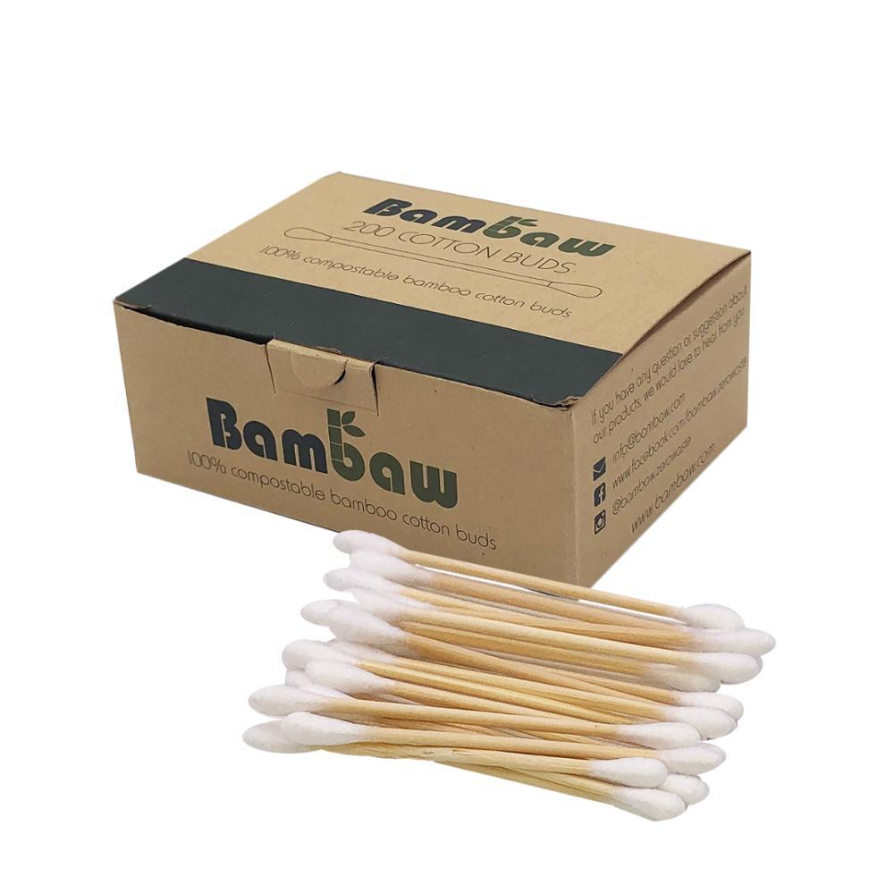 Di Vendita calda Su Ordinazione Usa E Getta 100% Tampone di Cotone Orecchio Bambù Bastoni