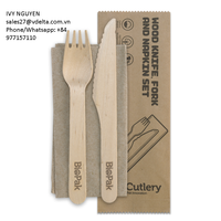 Eco-friendly, disposable wooden fork knife set