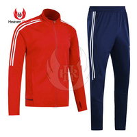 RED Top With Navy Bottom Pant 2 Stripes Nylon Zipper Tracksuits