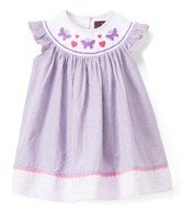 Butterfly Smocked on Purple Top Girl Dress