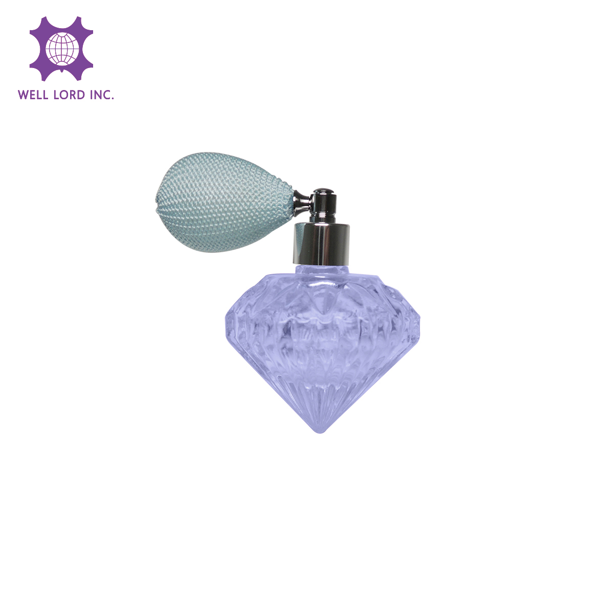 35ml precious diamond shape purplish blue color empty glass bottle with light blue bulb atomizer for perfume