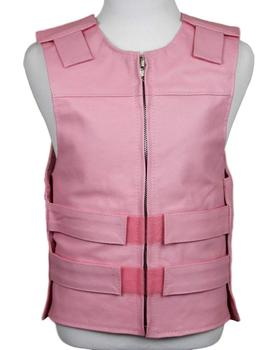 Baby Pink Leather Bulletproof Style Motorcycle Vest