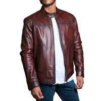 Red Polished Leather Factory Men's Genuine Lambskin Leather Biker Jacket