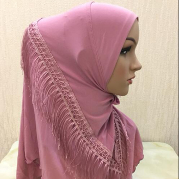 Wholesale new style plain Amira hijab with tassel fashion Muslim hijab for women