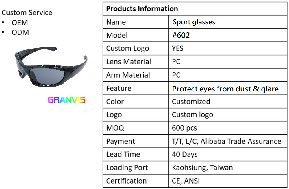 High quality eye protection fashionable sunglasses hot selling made in Taiwan