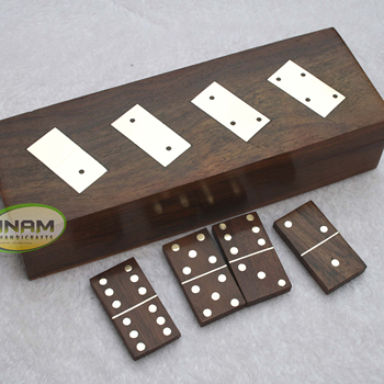 Beautiful design Sheesham wood box with 28 wooden domino chip Set, Decorative brass inlay wooden box with wooden domino chip set