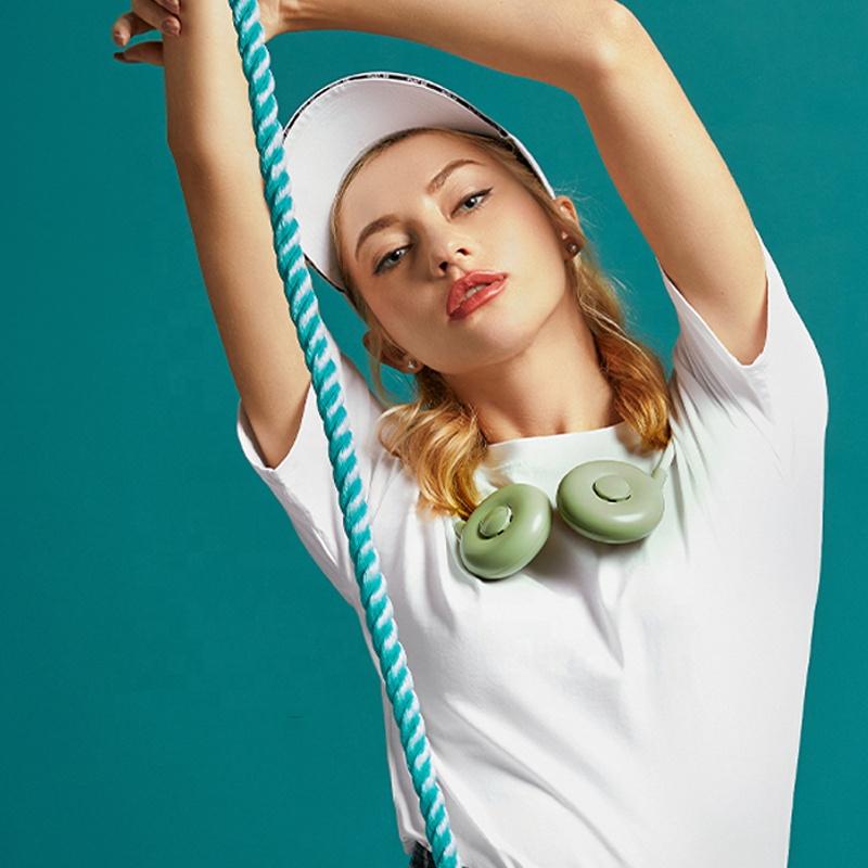 OEM manufacturer custom logo double mini hanging neck fans/cooling hanging neck fan
