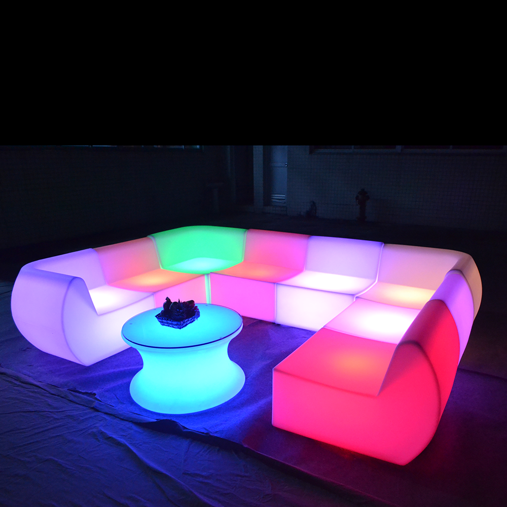 Promotional <strong>bar</strong> illuminated wholesale outdoor pub lounge sectional plastic light up nightclub furniture glow led sofa