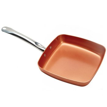Aristocrate Copper Ceramic Non Stick Square Grill Pan PTEF PFOA Free