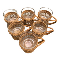 Vintage Wicker Rattan Glass Mug Inserts with Glass Cup