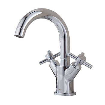 Dual Handle Bathroom Vessel Sink Faucet Waterfall Basin Mixer Tap, Chrome, WITHOUT SINK