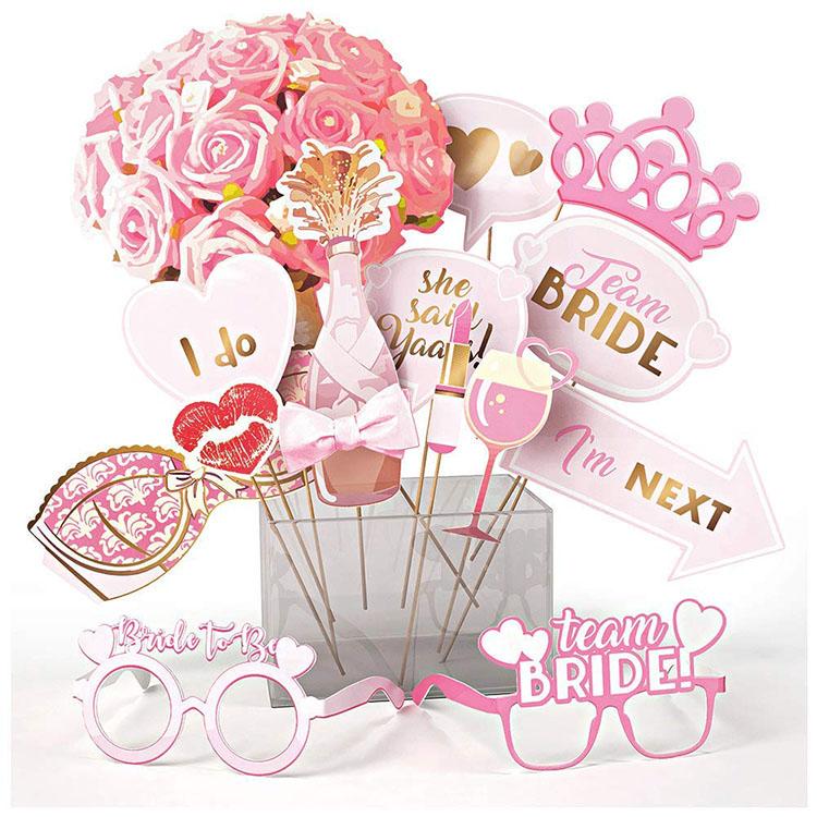 Nicro New Product 15 Pcs Pink Bachelorette Bridal Shower Photo Prop