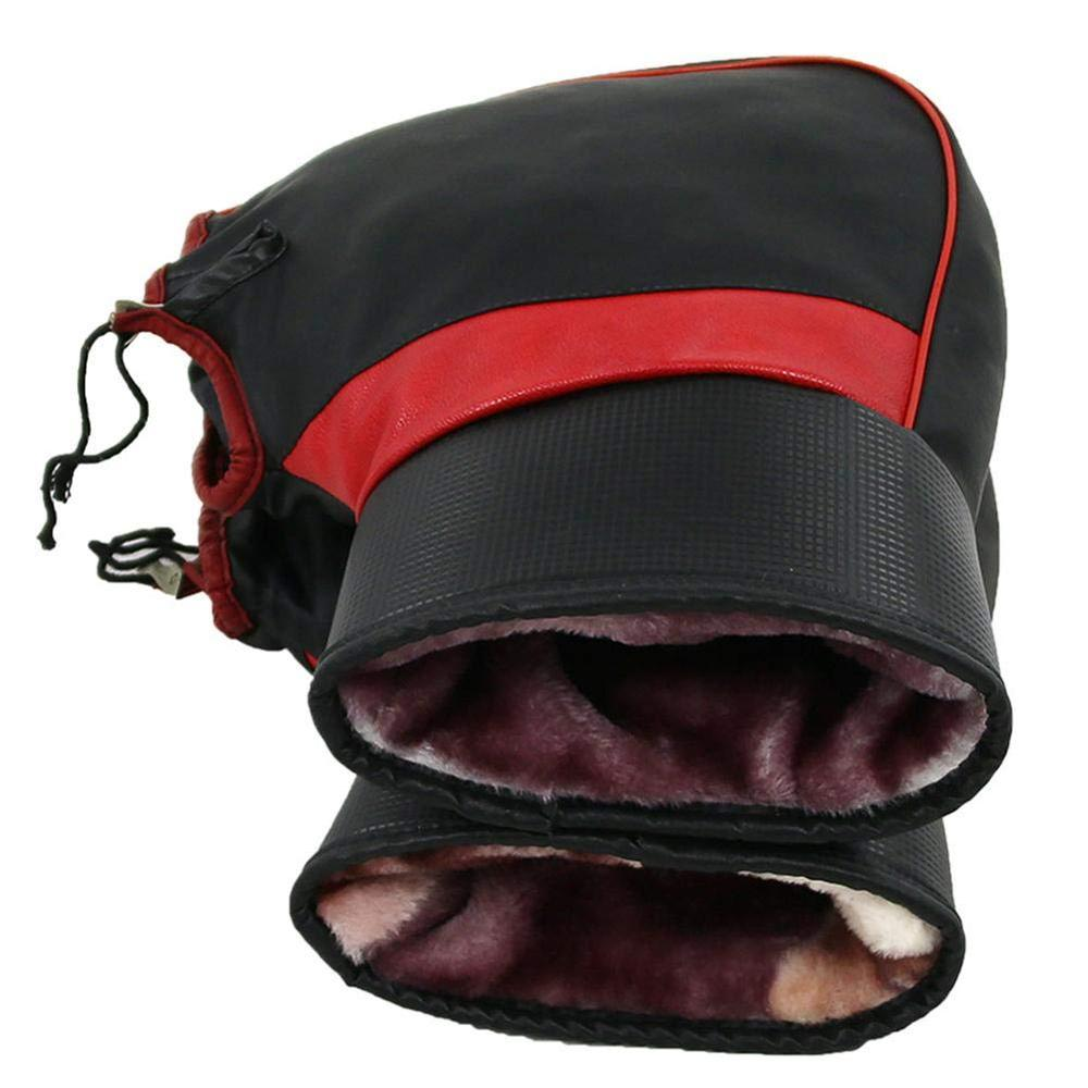 winter cold-proof thick warm leather windproof waterproof gloves motorbike muffs bar accessories grip muff