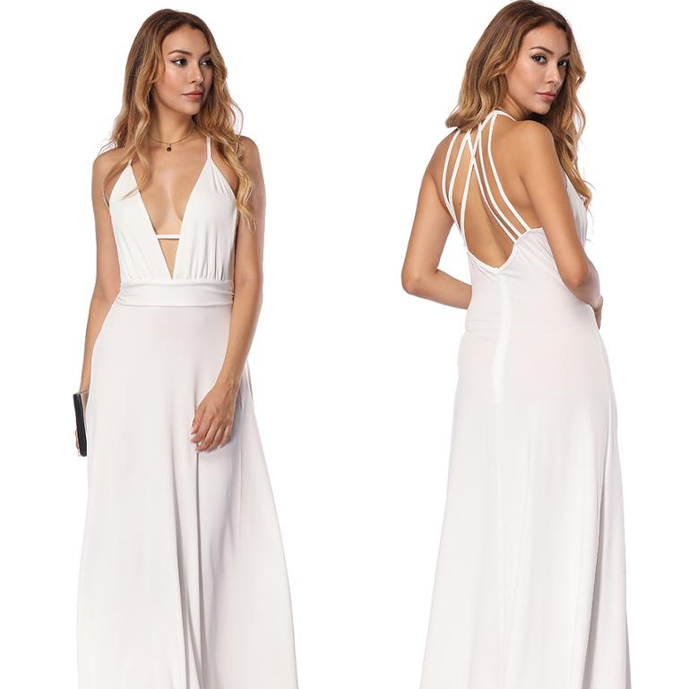2019 New White Maxi Dress Sexy Open Back Hidden <strong>Zip</strong> Ladies Dress Deep <strong>V</strong> Neck Evening Dresses Women Party