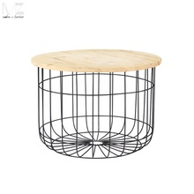 budget modern simple style Scandinavian sofa end black metal wire base side table
